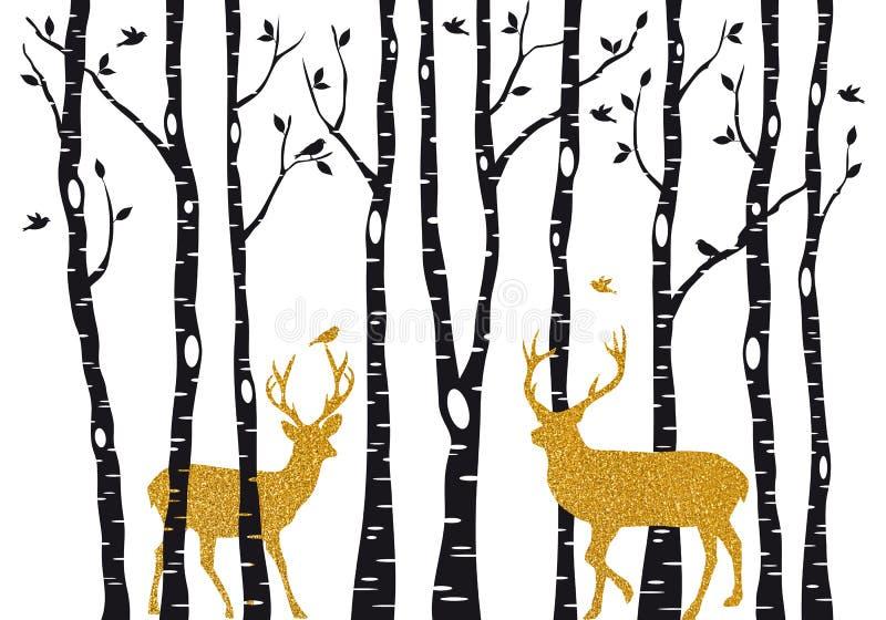 Berkbomen met gouden Kerstmisrendier, vector stock illustratie