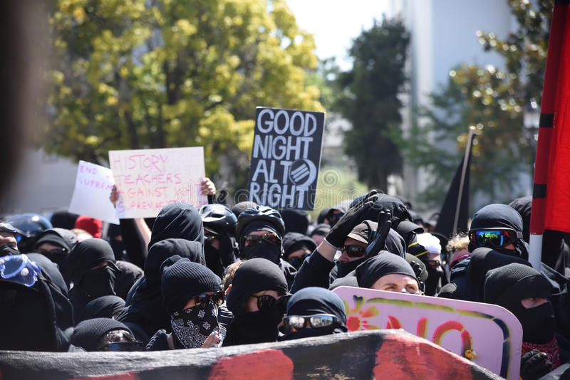 Berkeley Protests Against Fascism, Racism, and Donald Trump royalty free stock image