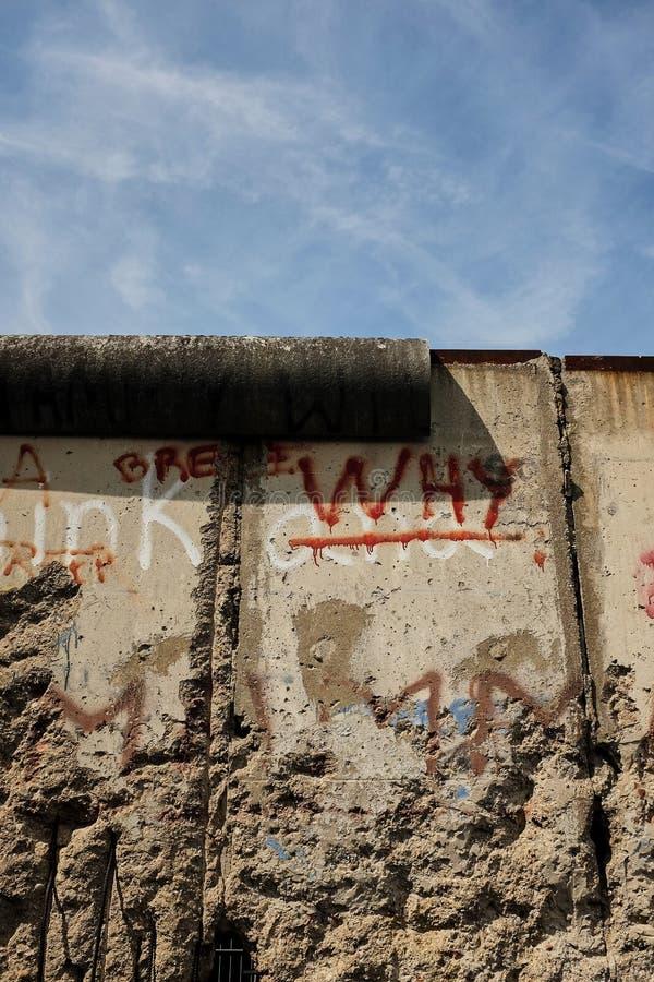 Berlín, Alemania - 27 de junio de 2017: Vista de una sección del muro de Berlín Este-Oeste original, parte de Berlin Wall Memoria foto de archivo