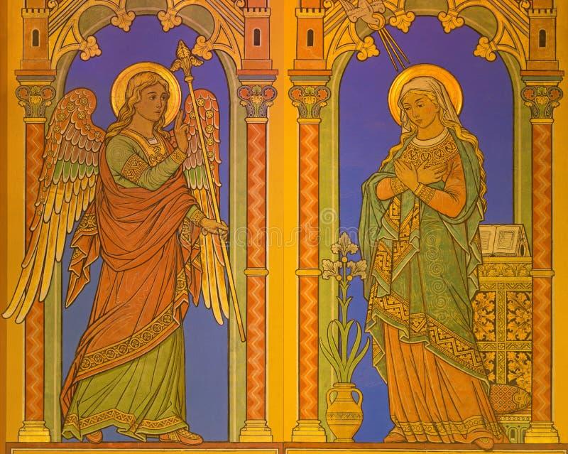 BERLÍN, ALEMANIA, FEBRERO - 15, 2017: El fresco del anuncio en St John la basílica baptista Johannes Basilika por el desconocido  imágenes de archivo libres de regalías
