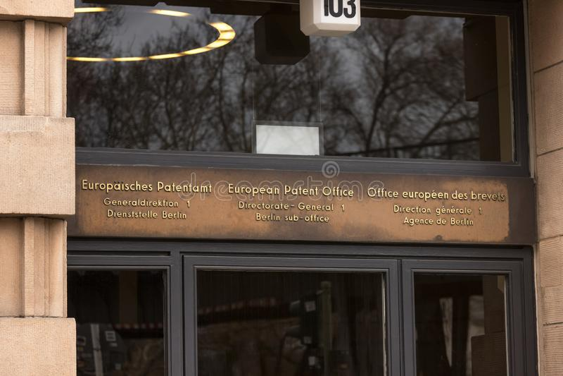 Berlín, Berlín/Alemania - 15 03 19: Oficina Europea de Patentes en Berlín Alemania imagen de archivo
