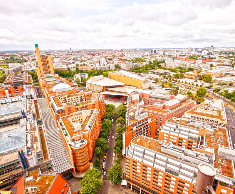 Berlín, arquitectura moderna de la visión aérea fotos de archivo libres de regalías