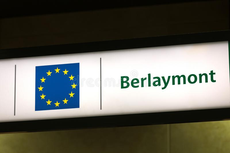Berlaymont budynek podpisuje wewnątrz Brussels Belgium obraz royalty free