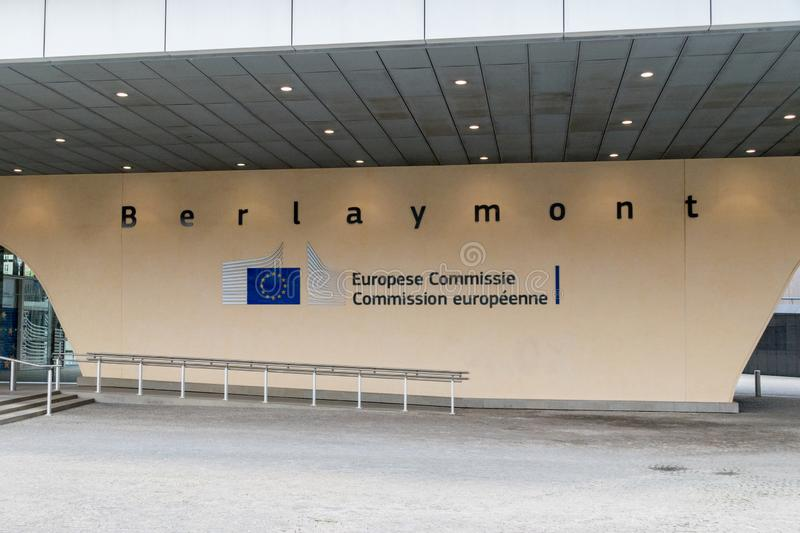 Berlaymont building sign at entrance to the Berlaymont Building, the headquarters of the European Commission. Brussels, Belgium - June 5, 2019: Berlaymont stock photos