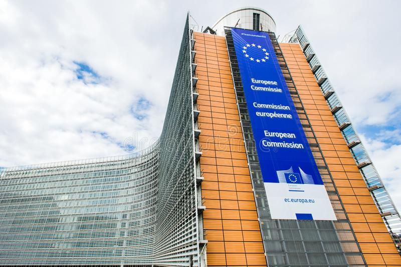 Berlaymont, der Hauptsitze der Europäischer Kommission unterbringend errichtet stockbild