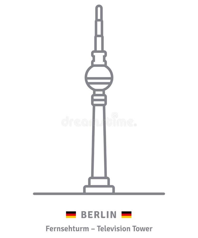 Berlińska ikona Telewizi wierza i niemiec flaga ilustracji