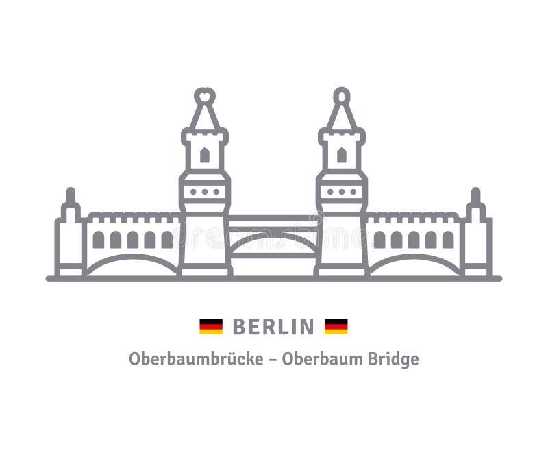 Berlińska ikona z Oberbaum mostem i niemiec zaznaczamy royalty ilustracja