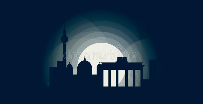 Berlińska stolicy linii horyzontu loga ilustracja ilustracji