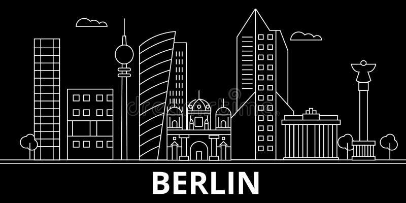 Berlińska sylwetki linia horyzontu Niemcy - Berliński wektorowy miasto, niemiecka liniowa architektura, budynki Berlin linii podr ilustracja wektor