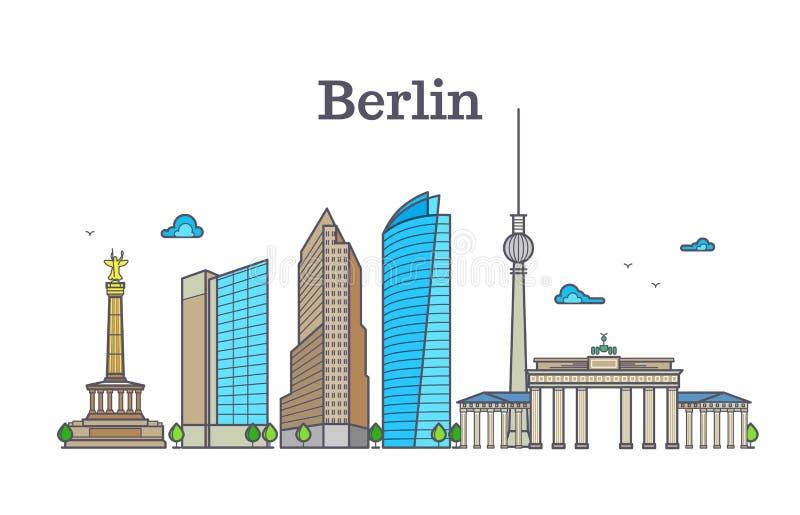 Berlińska sylwetki linii horyzontu panorama, miasto krajobrazowa wektorowa ilustracja royalty ilustracja