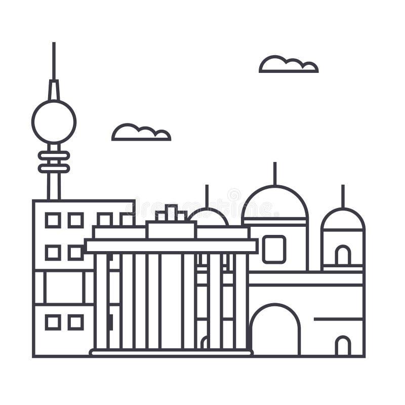 Berlińska wektor linii ikona, znak, ilustracja na tle, editable uderzenia ilustracja wektor
