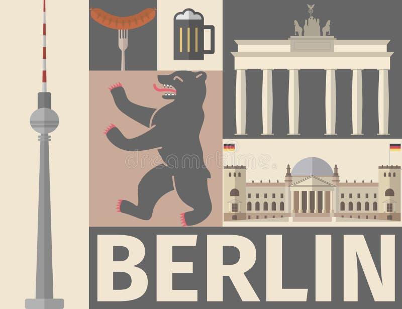 Berliński plakat Płaska ikona ilustracja wektor