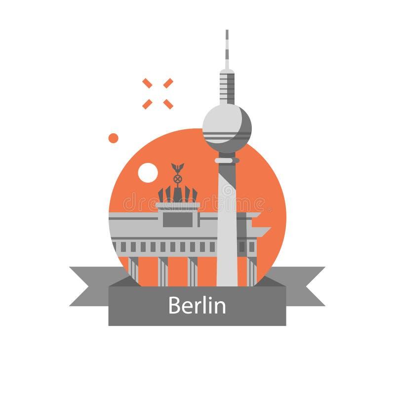 Berliński symbol, Brandenburg brama i wierza, Niemcy podróży miejsce przeznaczenia, sławny punkt zwrotny, turystyki pojęcie ilustracja wektor