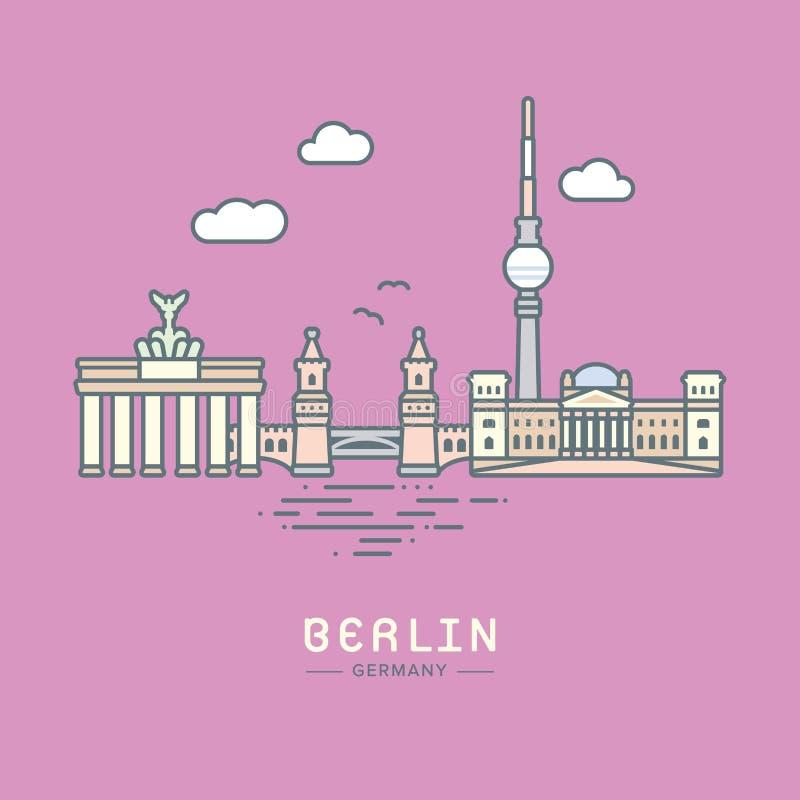 Berlińskich miasto punktów zwrotnych płaska wektorowa ilustracja ilustracja wektor
