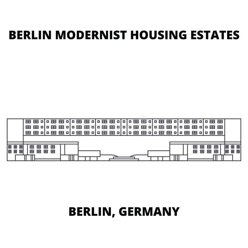 Berlińskich Nowożytnych domów ikony kreskowy pojęcie Berlińskich Nowożytnych domów wektoru liniowy znak, symbol, ilustracja royalty ilustracja