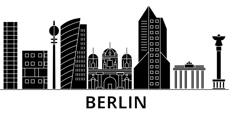 Berlińskiej architektury miasta wektorowa linia horyzontu, podróż pejzaż miejski z punktami zwrotnymi, budynki, odosobneni widoki royalty ilustracja