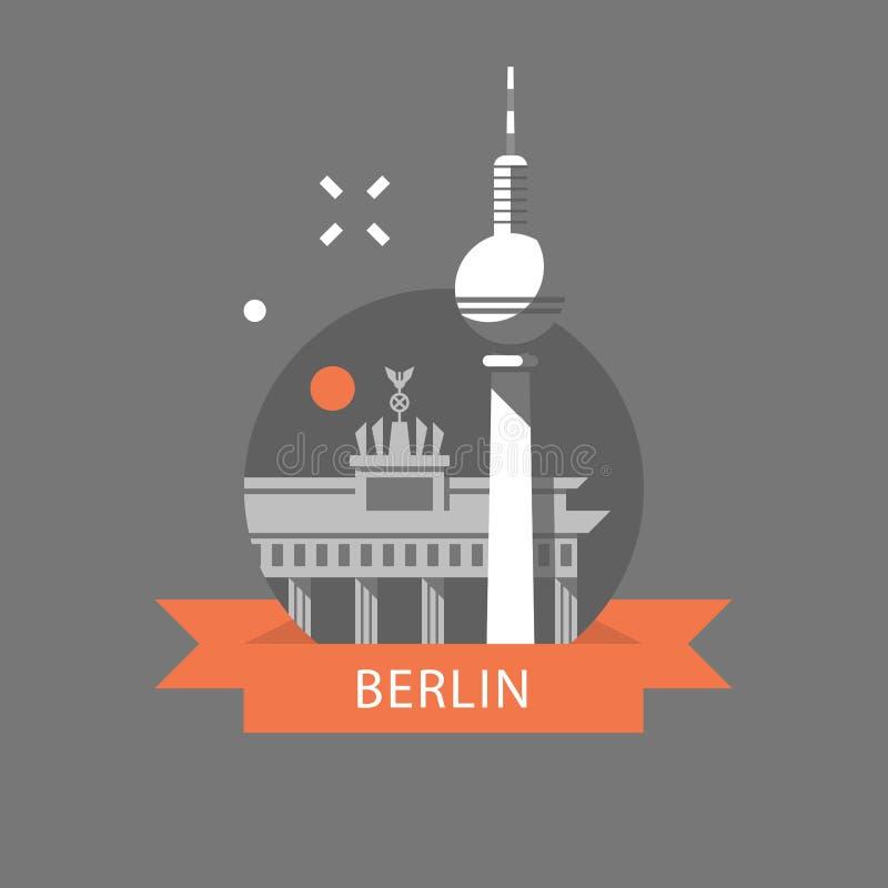 Berli?ski symbol, Brandenburg brama i wierza, Niemcy podr??y miejsce przeznaczenia, s?awny punkt zwrotny, turystyki poj?cie ilustracji