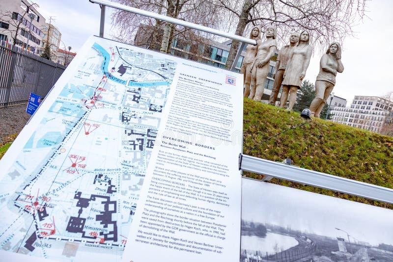 BERLIJN, DUITSLAND - 1 DEC, 2018: IJzeren gordijn - het gedenkteken van slachtoffers van Berlin Wall, Berlijn, Duitsland stock foto's