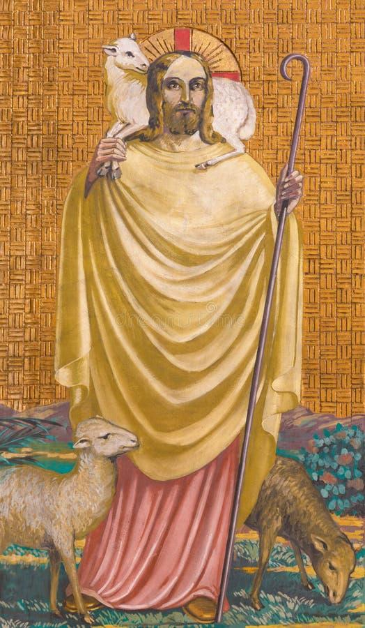BERLIJN, DUITSLAND, FEBRUARI - 15, 2017: De fresko van Jesus als Goede Herder in Rosenkranz-Basiliek royalty-vrije stock afbeelding