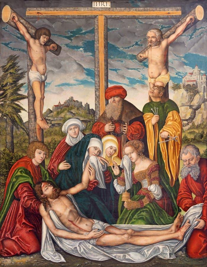 BERLIJN, DUITSLAND, FEBRUARI - 16, 2017: Het schilderen van Deposito van het Kruis in kerk Marienkirche stock afbeelding