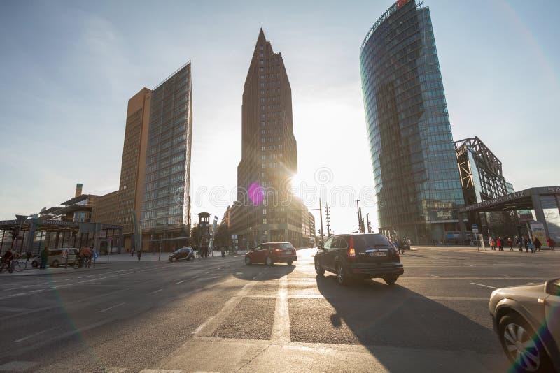 9 10 2016 BERLIJN, DUITSLAND - horizon van het financiële district met Potsdamer Platz in Berlijn, Duitsland stock fotografie
