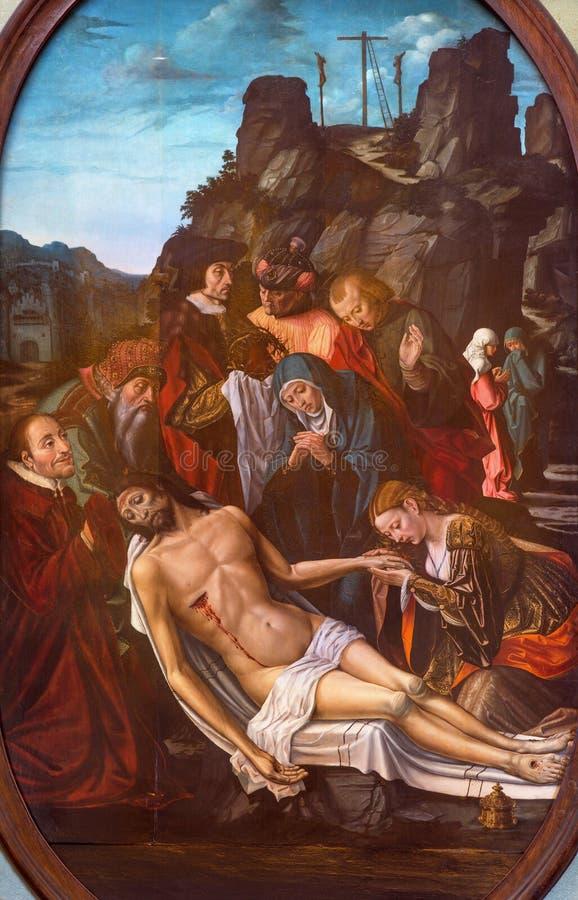 Berlijn - het schilderen van Deposito van het kruis in kerk Chiesa Di San Agostino door Duitse school 16 cent stock fotografie