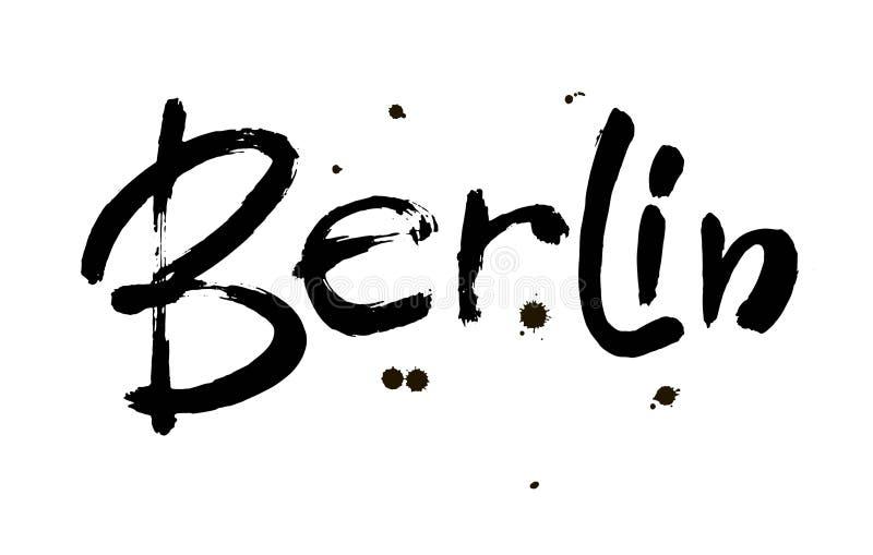berlijn Hoofdstad van Duitsland Inkthand het van letters voorzien Moderne borstelkalligrafie Geïsoleerdj op witte achtergrond Vec royalty-vrije illustratie