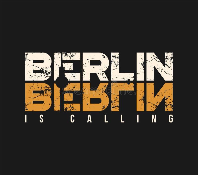 Berlijn roept t-shirt en kledingsontwerp met grungeeffect stock illustratie