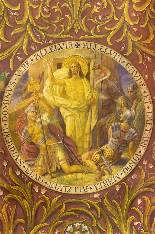 BERLIM, ALEMANHA, FEVEREIRO - 14, 2017: O fresco da ressurreição de Jesus na basílica de Rosenkranz da igreja imagem de stock