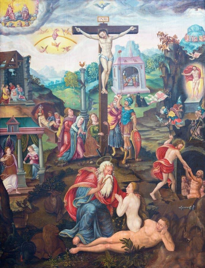 BERLIM, ALEMANHA, FEVEREIRO - 16, 2017: A pintura da crucificação na igreja Marienkirche por artista desconhecido de 16 centavo foto de stock