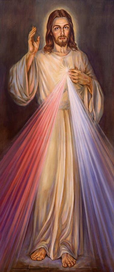 BERLIM, ALEMANHA, FEVEREIRO - 15, 2017: A pintura da mercê divina tradicional de Jesus em St John a igreja batista imagem de stock