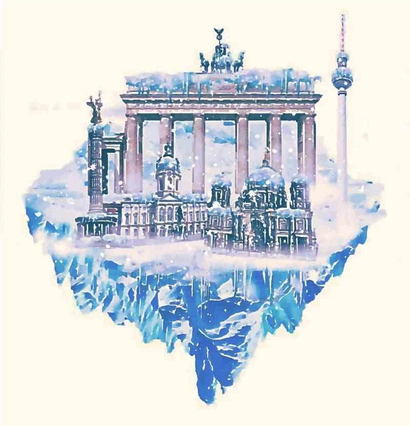 Berlin śnieżny ilustracja wektor