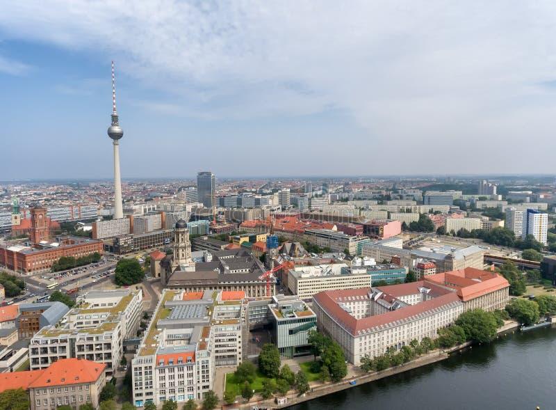 berlin Германия Воздушный вид на город с главными ориентир ориентирами стоковое фото