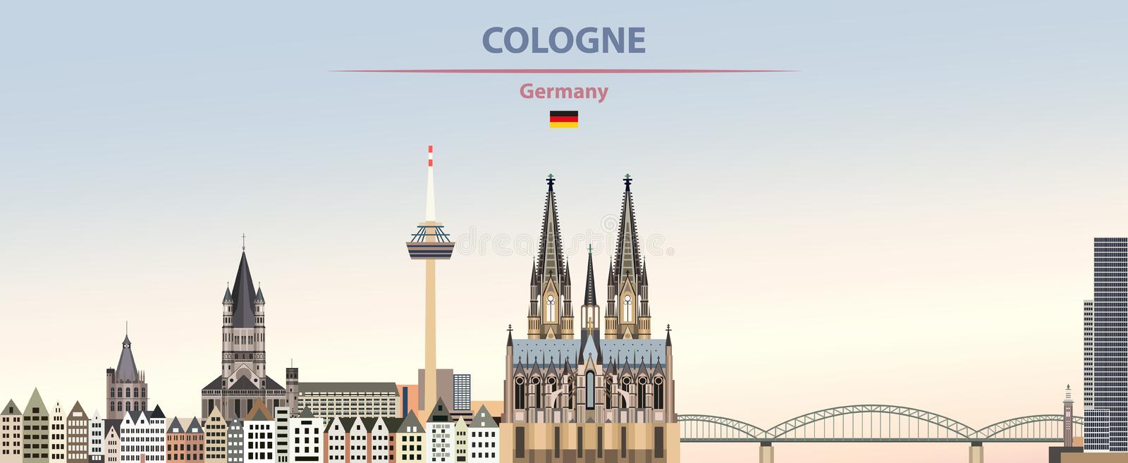 Vector poster of Cologne city skyline on colorful gradient beautiful day sky background with flag of Germany vector illustration
