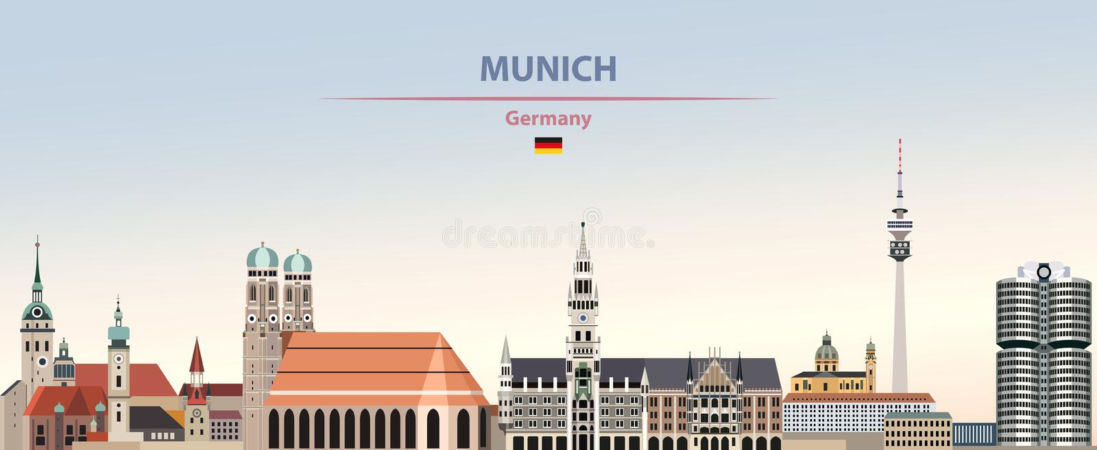 Vector illustration of Munich city skyline on colorful gradient beautiful day sky background with flag of Germany vector illustration