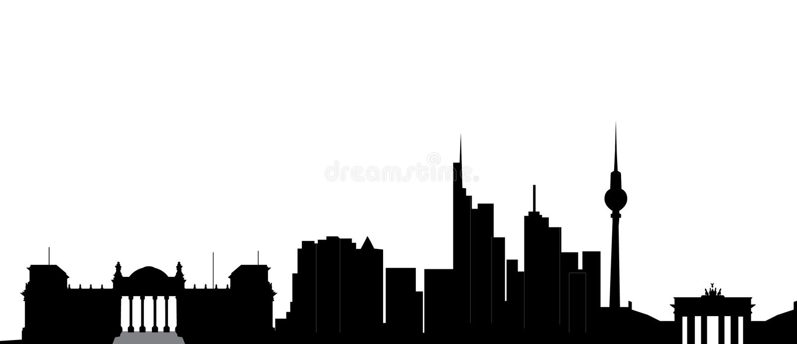 Berlin. Skyline of the city with the tv tower and brandenburger tor stock illustration