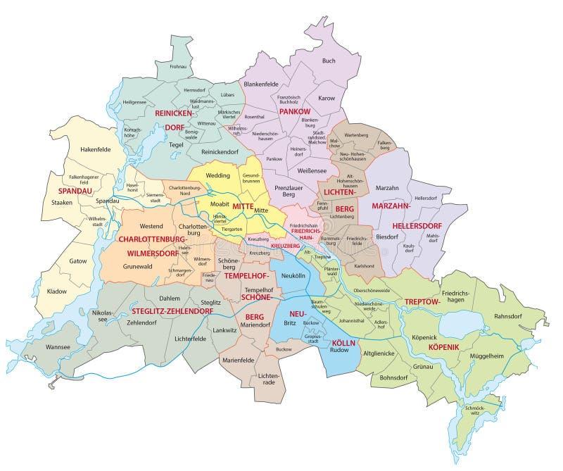Berlin administrative map stock illustration Illustration of