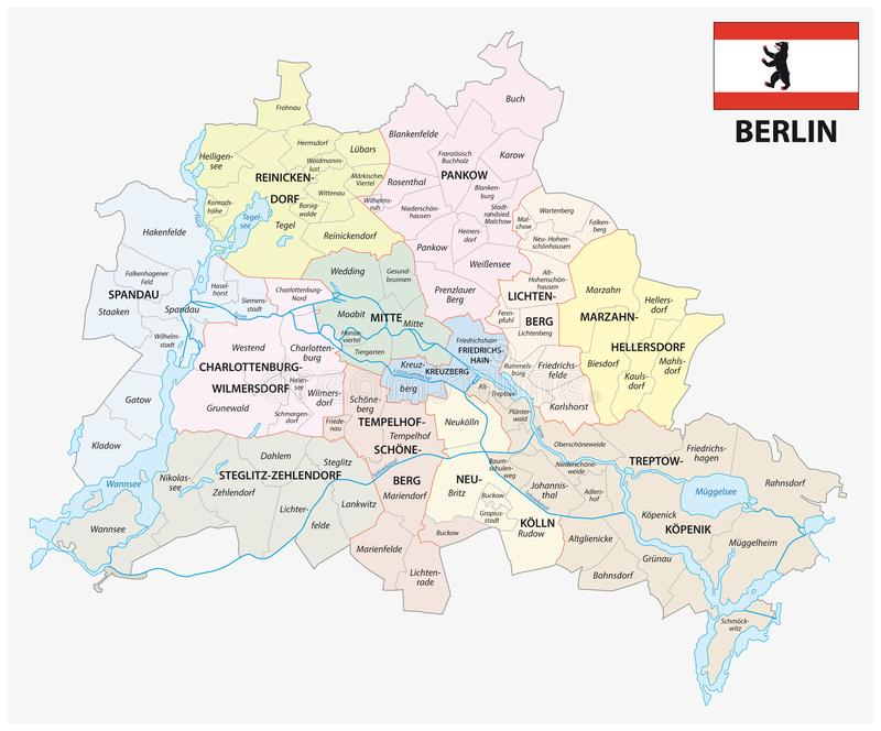 Berlin administrative and political map with flag royalty free illustration