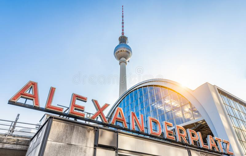 Berlin Alexanderplatz with TV tower at sunset, Germany stock image