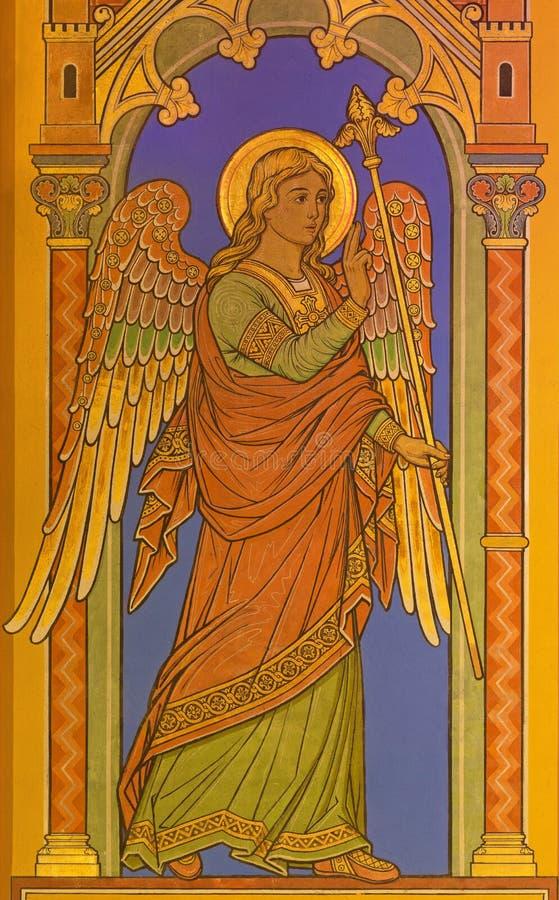BERLIN, ALLEMAGNE, FÉVRIER - 15, 2017 : Le fresque de l'archange Gabriel comme détail d'annonce en St John la basilique de baptis photos libres de droits