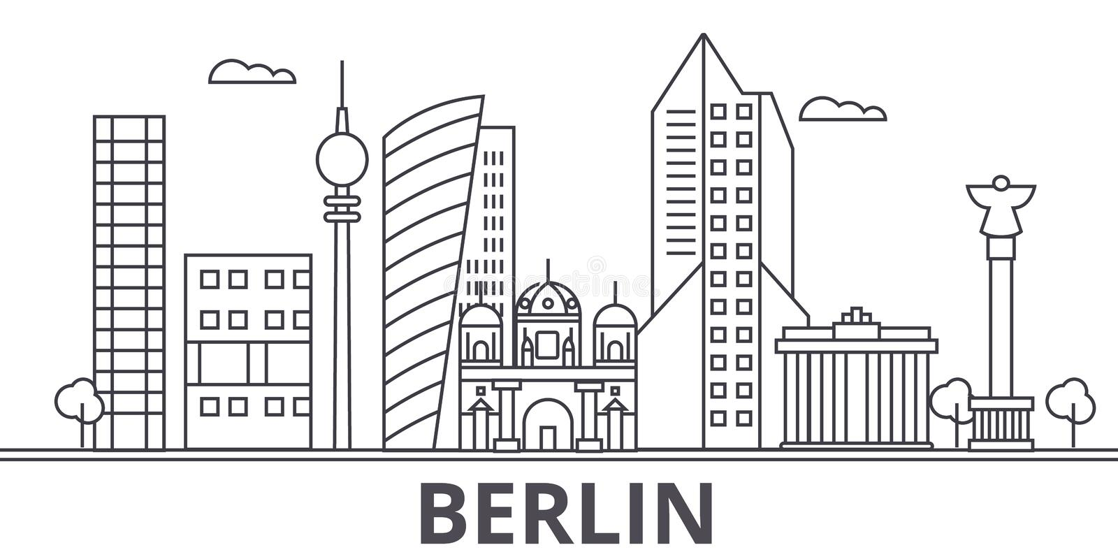 Berlin architecture line skyline illustration. Linear vector cityscape with famous landmarks, city sights, design icons royalty free illustration
