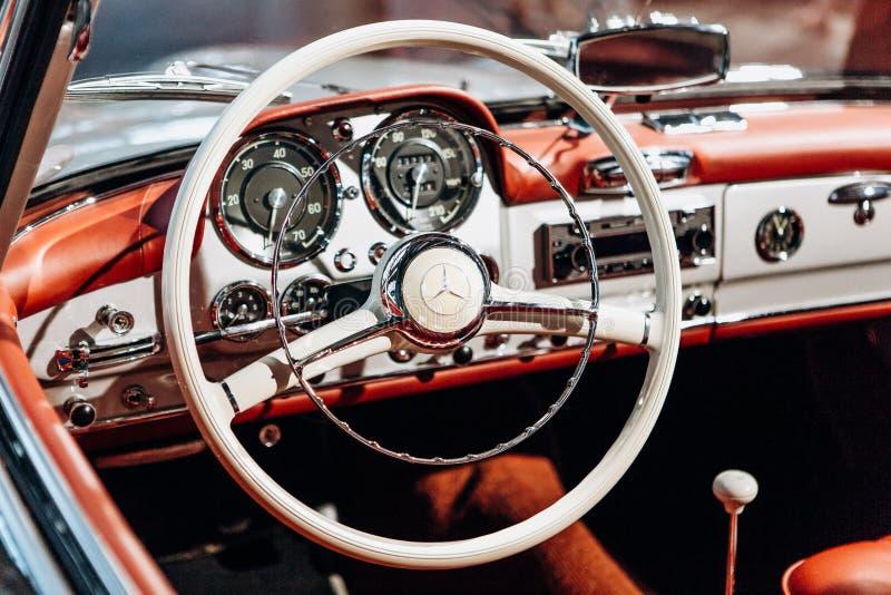 Interior of the german classic vehicle Mercedes-Benz 190SL. Retro design car. stock photo