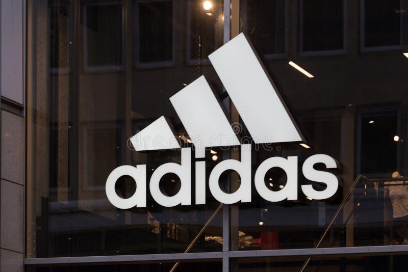 Berlin, brandenburg/germany - 22 12 18: adidas sign in berlin germany royalty free stock image