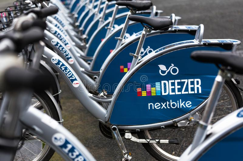 Nextbike rent bicycles in berlin germany stock photo