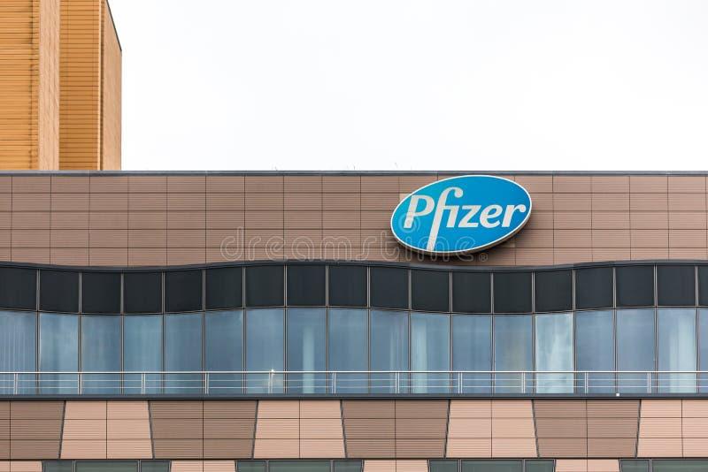 Berlin, brandenburg/germany - 24 12 18: pfizer sign in berlin germany stock images