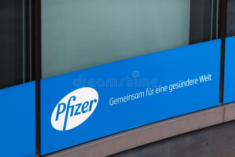 Berlin, brandenburg/germany - 24 12 18: pfizer sign in berlin germany stock photography