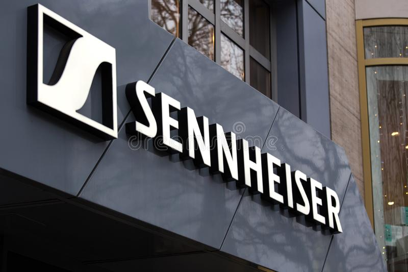 Berlin, brandenburg/germany - 22 12 18: sennheiser sign in berlin germany stock photos