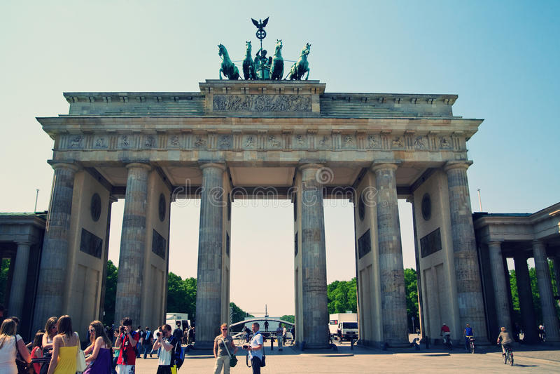 berlin brandenburg port royaltyfri foto