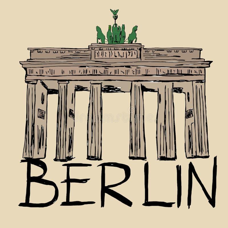 berlin brandenburg port stock illustrationer