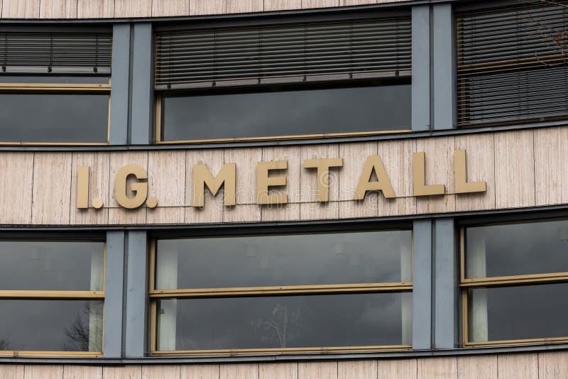 Berlin brandenburg/Tyskland - 15 03 19: IG Metall byggnad i berlin Tyskland fotografering för bildbyråer